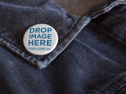 Close Up Mockup of a Button on a Dark Denim Jacket Collar a14320
