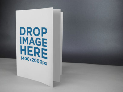 Book Standing on a White Surface Against a Black Background Mockup a14599