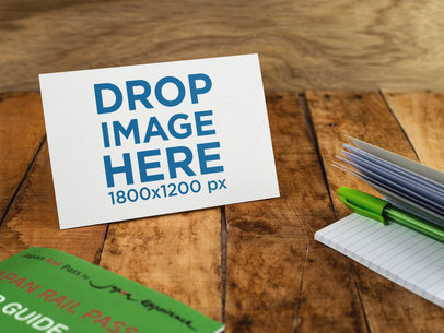 Postcard Template On a Wooden Table a14717