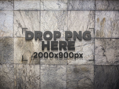 Black 3D Logo Template on a Wall of Stone Blocks a14551