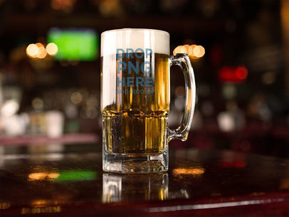 Beer Mug Template on a Bar With Lights in the Back a14780