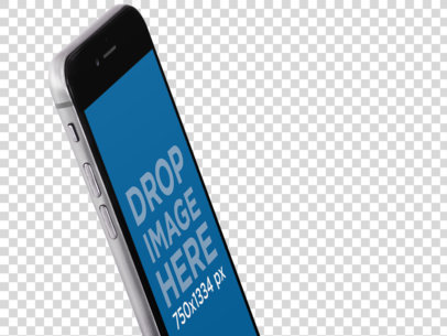Angled Side Closeup Mockup of an iPhone 6 Over a Transparent Backdrop a12754