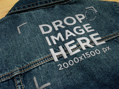 Embroidery Logo on the Back of a Denim Jacket Texture Template a14821