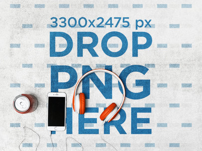 Mockup of an iPhone and Orange Headphones Lying on a Towel a14888