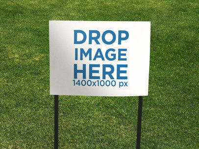 Real Estate Lawn Sign Mockup Against the Grass a14897