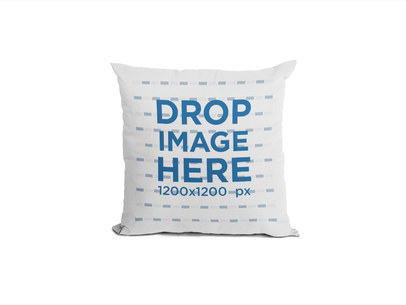 Square Pillow Mockup Standing Against a White Background a14943