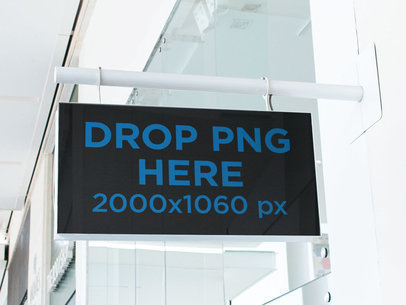 Rectangular Sign Mockup Outside a White Store a15041