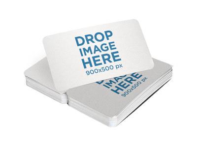 Stacks of Business Cards Mockup with Rounded Corners Lying on a Transparent Surface a15065