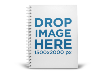 Spiral Notebook Mockup Standing on a Transparent Surface a15060