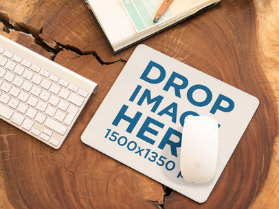 Mousepad Mockup on a Wooden Workstation a14908