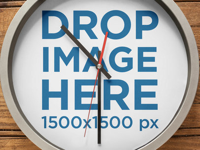 Closeup Mockup of a Round Clock on a Wooden Wall a15234