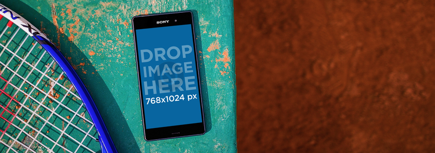Android Mockup Featuring a Black Sony Xperia at a Tennis Court Placeit Stage Image