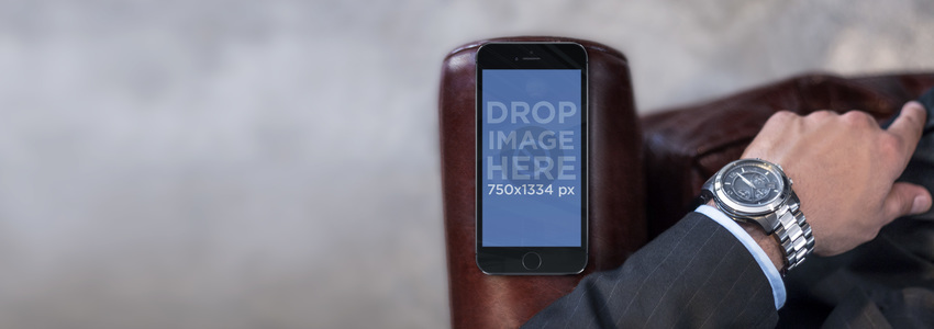 Topshot of Businessman With Black iPhone 6 Mockup Template Placeit Stage Image