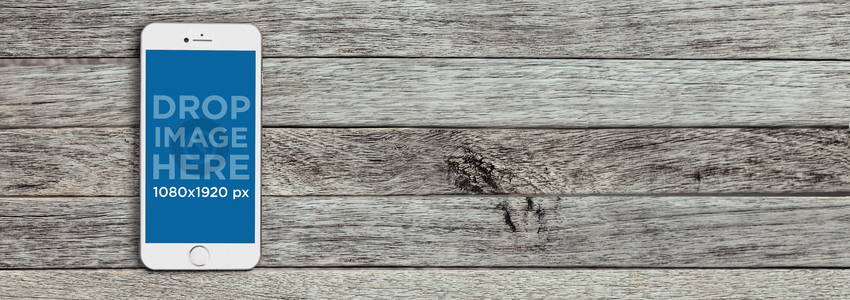 White iPhone 6 Over Grey Wood Background Mockup