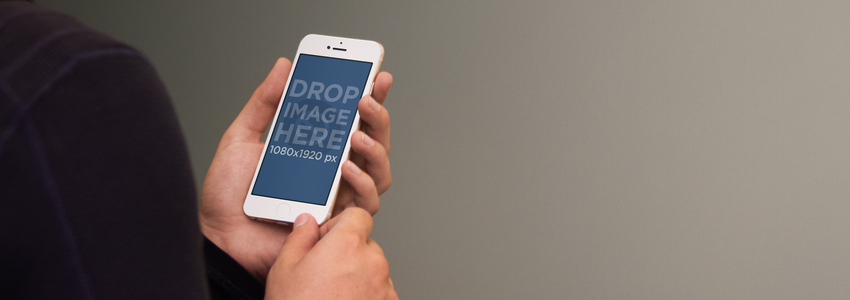 Businessman Holding White iPhone 6 Mockup
