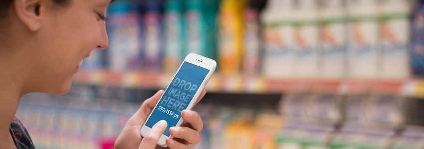 iPhone 6 Mockup Featuring a Woman Using an iPhone at the Supermarket a2798wide