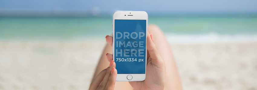 Amazing White iPhone 6 Mockup at the Beach