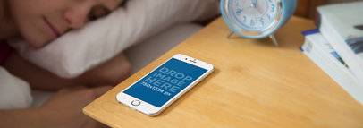 iPhone 6 Mockup Featuring a Woman Sleeping a3842
