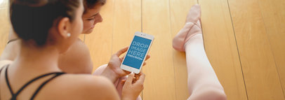 Girls Using iPhone 6 at Ballet Class Mockup Template a2831