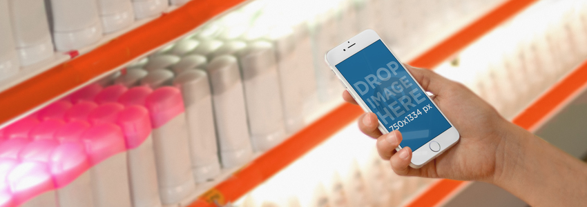 iPhone 6 Mockup Template at a Drugstore a2799