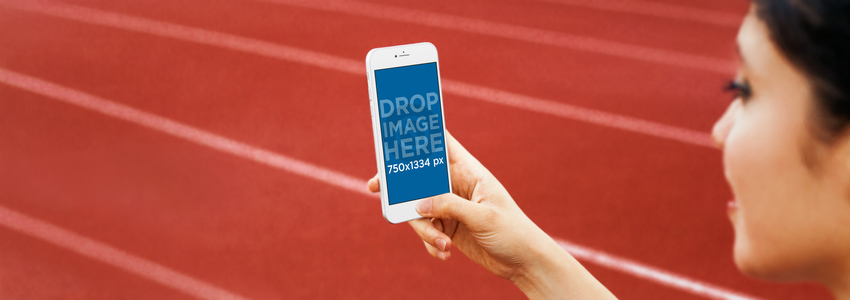 iPhone 6 Mockup Template at a Running Track a4247