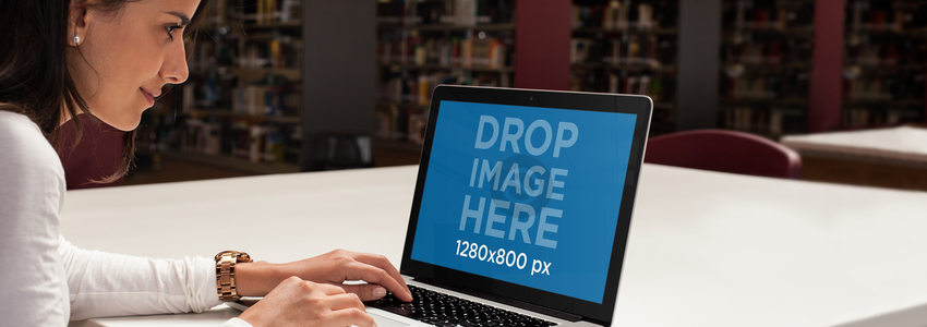 Macbook Pro Mockup of a Girl at a Library a4572