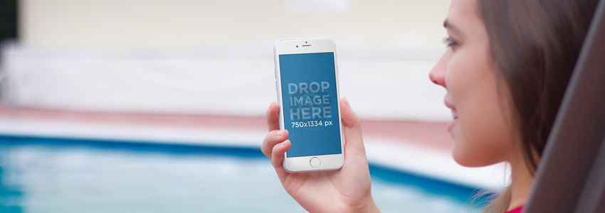iPhone Mockup Featuring a Young Woman by The Pool