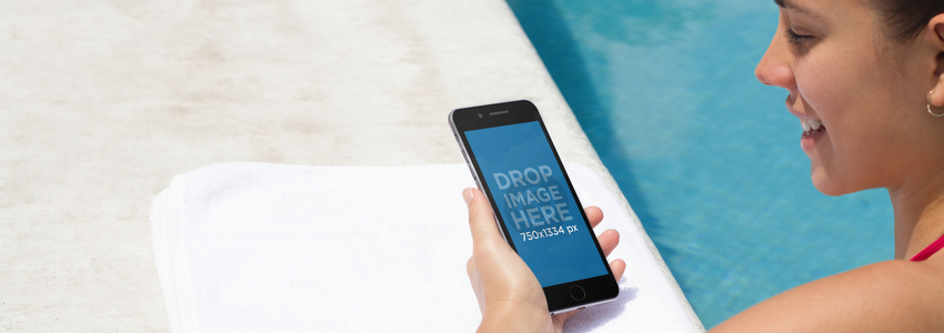 iPhone Mockup Featuring a Pretty Girl by the Pool