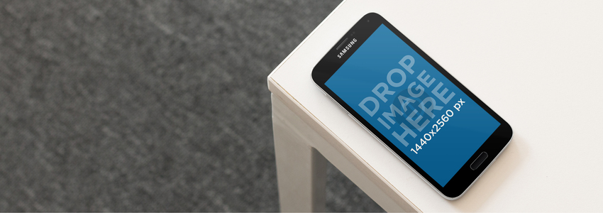 Android Mockup Featuring a Samsung Galaxy on a Table a9490
