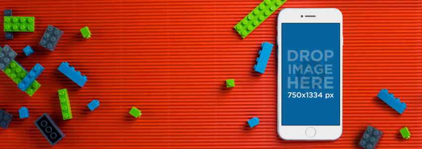iPhone 6s Mockup Template of a Desk With Legos a10009