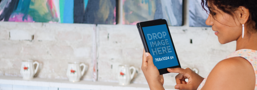 iPad Mockup Featuring a Black Woman at an Art Gallery