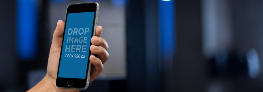 iPhone 6s Mockup With Bright Blue Lights a9795