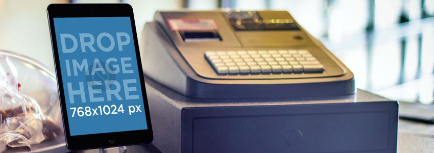 iPad Mini With Cashing Machine Wide